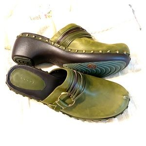 Ecco Green Leather Studded Mules